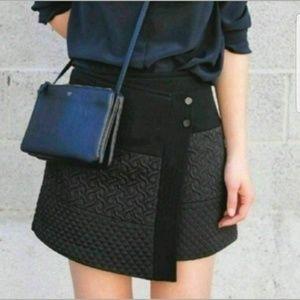 Cabi Black Asymmetrical A Line Mini Wrap Skirt